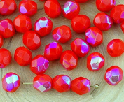 40pcs Opaque Coral Red Ab Half Round Faceted Fire Polished Spacer Czech Glass Beads 6mm