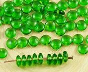 60pcs Crystal Green Lentil Flat Round One Hole Czech Glass Beads 6mm