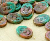 6pcs Picasso Silk Opal Pink Turquoise Green Mix Window Table Cut Flat 3 Dots Oval Czech Glass Beads 18mm x 12mm
