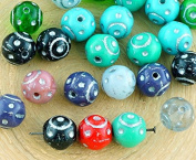 16pcs Mix Red Turquoise Blue Green Black White Silver Patina Wash Round Dotted Lined Carved Czech Glass Beads Ball Mix 8mm