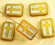 4pcs Picasso Amber Opal Yellow Silver Patina Wash Rectangle Flat Cross Religious Christian Rosary Crucifix Czech Glass Beads 11mm x 17mm
