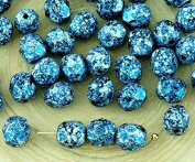 40pcs Opaque Jet Black Granite Tweedy Blue Silver Patina Spotted Round Faceted Fire Polished Spacer Czech Glass Beads 6mm