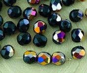 40pcs Opaque Jet Black Metallic Sliperit Iris Gold Purple Half Round Faceted Fire Polished Spacer Czech Glass Beads 6mm
