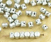 60pcs Matte Metallic Aluminium Silver PRECIOSA Pellet Diablo Dogbone Czech Glass Beads 4mm x 6mm