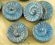 4pcs Opaque Turquoise Baby Blue Terracotta Bronze Nautilus Fossil Snails Seashell Ammonite Flat Round Spiral Coin Czech Glass Beads 18mm