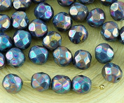 40pcs Nebula Purple Opaque Grey Grey Round Faceted Fire Polished Spacer Czech Glass Beads 6mm