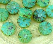 8pcs Picasso Brown Crystal Opal Aqua Blue Matte Table Cut Flower Flat Coin Czech Glass Beads 12mm
