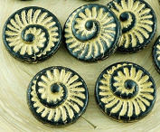4pcs Opaque Jet Black Matte Gold Patina Wash Nautilus Fossil Snails Seashell Ammonite Flat Round Spiral Coin Czech Glass Beads 18mm