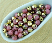 100pcs Opaque Pink Rose Metallic Gold Half Round Faceted Fire Polished Small Spacer Czech Glass Beads 4mm