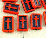 4pcs Opaque Coraline Coral Red Black Patina Wash Rectangle Flat Cross Religious Christian Rosary Crucifix Halloween Czech Glass Beads 17mm