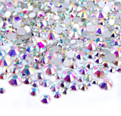 Magic Show Crystal AB Round Nail Art Mixed Flatbacks Rhinestones Gems Mix Size 2mm - 6mm 144Pcs