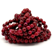 100 x Red Mottled Effect Round Glass Craft Beads - 8mm - L18240