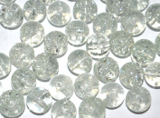 x100 Coloured Glass Round Crackle Jewellery Beads - 8mm - Clear