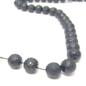 100 Pcs 6mm Textured Glass Pearl Beads - moon effect surface - KB0736 / 6mm Black