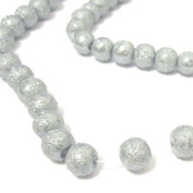 200 Pcs 4mm Textured Glass Pearl Beads - moon effect surface - KB0730 / 4mm Silver Grey