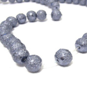 100 Pcs 6mm Textured Glass Pearl Beads - moon effect surface - KB0732 / 6mm Dark Grey