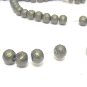100 Pcs 6mm Textured Glass Pearl Beads - moon effect surface - KB0721 / 6mm Dark Olive