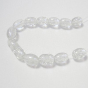 70 Pcs / 32 inch 8x11mm Oval Crackle Glass Beads - Clear - A2243