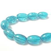 70 Pcs / 32 inch 8x11mm Oval Crackle Glass Beads - Aqua - A2239