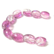 70 Pcs / 32 inch 8x11mm Oval Crackle Glass Beads - Purple & Clear - A2236
