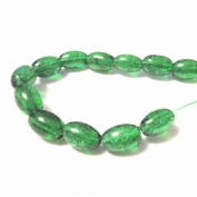 70 Pcs / 32 inch 8x11mm Oval Crackle Glass Beads - Dark Green - A2253