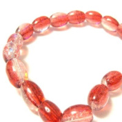 70 Pcs / 32 inch 8x11mm Oval Crackle Glass Beads - Red & Clear - A2237