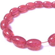 70 Pcs / 32 inch 8x11mm Oval Crackle Glass Beads - Hot Pink - A2249