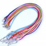 euhuton 20 Pcs 46cm Multicolor Imitation Leather Cord Rope Necklace Chain with Extension Chain and Lobster Clasp,10 Colour