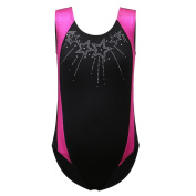 HUANQIUE 3-11Y Girls Bling Bling Star Gymnastic Leotard Sleeveless One Pieces Bodysuit Sportswear Dance Costumes