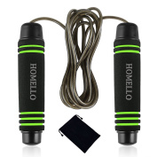 Homello Skipping Rope - Speed Jump Rope Adjustable with Skin-friendly Foam Handles and Tangle-Resistant Steel Cable for Fitness and Boxing - Carry Pouch Included for FREE
