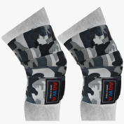 AQWA Power Weight Lifting Knee Wraps Lifter Lifting Wrap 200cm long and 7.6cm wide Elasticated Knee Straps Strengthen Training