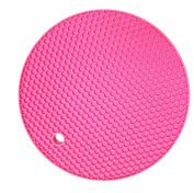 Vikenner Round Silicone Table Mat Insulation Placemat Heat Resistant Pan Pot Holder Cushion Pad Non-slip Table Cup Mat - Red Rose