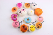 Pizies 20 Pcs Random Delivery Soft Squishy Toys,Cute Phone Charms,Kawaii Bag Pendants
