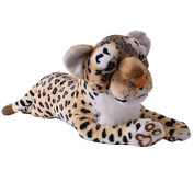 te-trend Soft Toy Leopard Brown Spotted Large Cat Lying Creeping Plush Fur Decoration 103cm