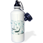 3dRose Blue and White Nautical Theme Octopus, Boat, Anchor, Sports Water Bottle, 620ml