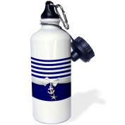 3dRose Nautical navy blue and white stripes - 2D ribbon bow graphic and printed anchor and starfish charms, Sports Water Bottle, 620ml