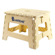 Lantelme 6774 Folding stool in white - Universal stool made of plastic - Foldable as a children's step stool or as a stool