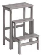Valsecchi Su and Giu 3 Steps Ladder Stool, Beech wood, Grey, 30 x 30 x 30 cm
