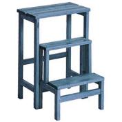 Valsecchi Su and Giu 3 Steps Ladder Stool, Beech wood, Light Blue, 30 x 30 x 30 cm