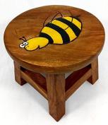 BEE Wooden Stool - Handmade - H:25cm W:28cm