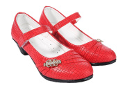 Forever Young Girls Red Party Shoes Low Heel Mary Jane Court Shoe Wedding Occasion Dance Size 12-3