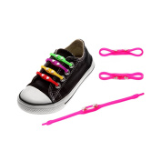 Ya Jin 24PCS Mix-colour Silicone No Tie Shoelaces Elastic Tieless Running Bootlaces with Heart Buckle for Adult Kids