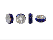 Pack of 20 Silver Metal Clear Rhinestone Spacer Beads Acrylic Design Beads 6x3 mm – Dark Blue â .