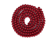 100 Round Synthetic Pearl Look Beads Red 8 mm Thread