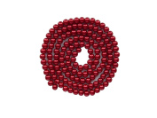 Strand Of 140 Round Synthetic Pearl Look Beads Red 6 mm