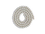 Strand Of 140 White Round Synthetic Pearl Look Beads 6 mm