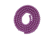 Strand Of 140 Round Synthetic Pearl Look Beads Purple 6 mm