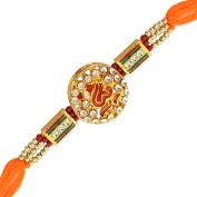 Religious OM Crystal Ethnic Meena Enamel Rakhi for Brother for Raksha Bandhan Indian Festival