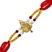 Christmas Gifts Religious Ganesh Leaf Pearl Bead Rakhi for Brother for Raksha Bandhan Indian Hindu Festival Handmade
