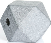 10 Pcs Polygon Wooden beads geometric Shape, Various Colours For Selection, D. 20x20mm , Hole 3,7-4,2mm - silvery, 20mmx20mm